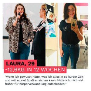 Laura hat durch die Körperverwandlung in 12 Wochen 12 kg abgenommen